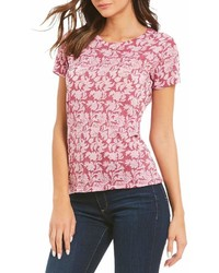 Lucky Brand All Over Floral Burnout Print Tee