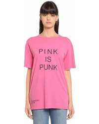Valentino Pink Is Punk Print Cotton Jersey T Shirt