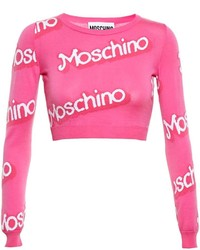 Moschino Logo Intarsia Cropped Sweater