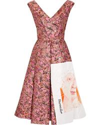 Prada Silk Ed Metallic Jacquard Midi Dress