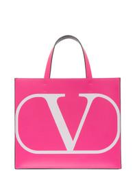 Valentino Pink Garavani Small Vlogo Shopper Tote
