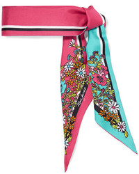 Marc Jacobs Printed Silk Twill Scarf Fuchsia