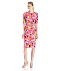Hot Pink Print Sheath Dress