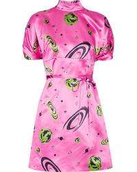 Miu Miu Printed Silk Satin Mini Dress Pink