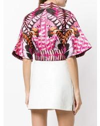 Hot Pink Print Short Sleeve Blouse