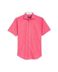 Hot Pink Print Short Sleeve Shirt