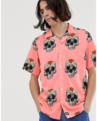 Dickies Blossvale Shirt With Skull Print In Pink
