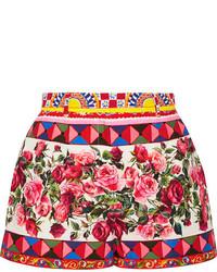Dolce & Gabbana Printed Cotton Poplin Shorts Pastel Pink