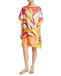 Emilio Pucci Fiore Maya Printed Silk Caftan Coverup Pinkorange