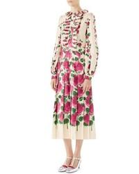 Gucci Pleated Rose Print Silk Midi Dress