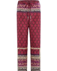 Anna Sui Silk Cotton Woodblock Mixed Print Pants