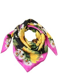 Dolce & Gabbana Sunflower Chains Printed Silk Scarf