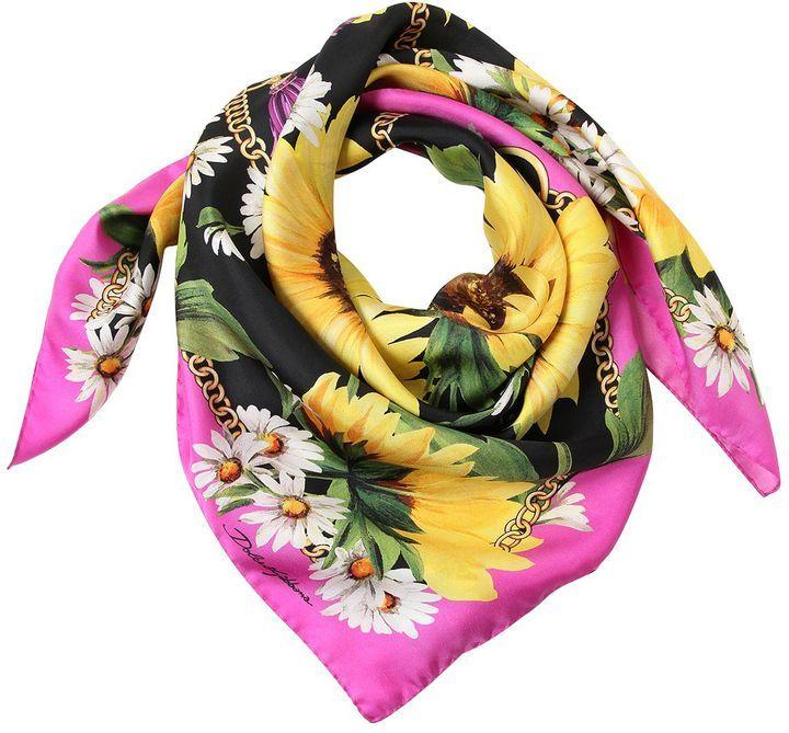 18b14045 Dolce & Gabbana Sunflower Chains Printed Silk Scarf, $339 ...