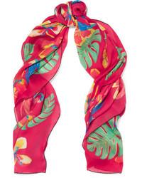 Valentino Tropical Dream Printed Silk Scarf Bubblegum