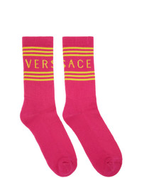 Versace Pink 1990s Vintage Logo Socks