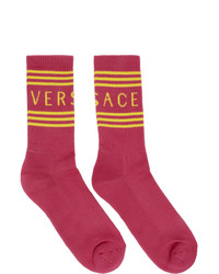 Versace Pink And Yellow Logo Socks