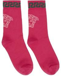Versace Pink Medusa Greca Socks