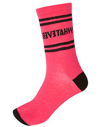 River Island Pink Whatever Print Novelty Ankle Socks