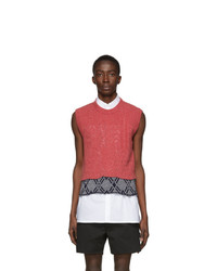 Raf Simons Pink Graphic Merino Wool Vest