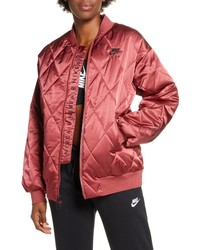 Nike Logo Diamond Quilted Satin Jacket