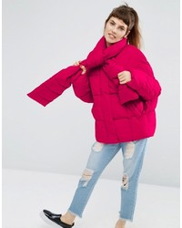 Asos Statet Puffer Jacket With Tie Neck