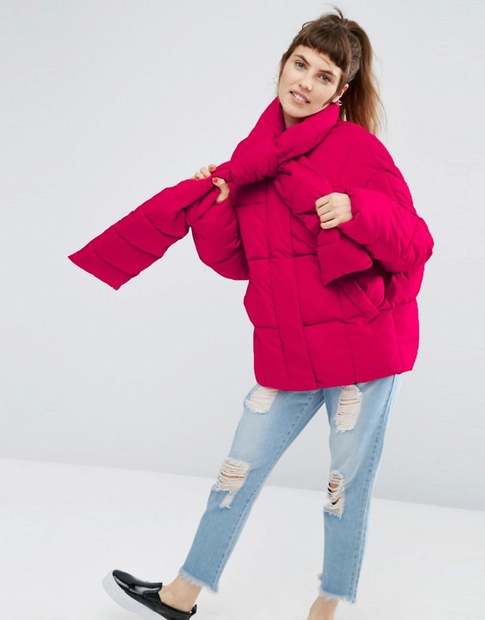 d19cdcf8d $94, Asos Statet Puffer Jacket With Tie Neck