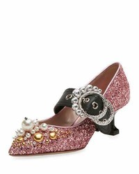 Miu Miu Glitter Buckle 55mm Pump