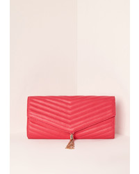 Missguided Chevron Quilted Tassel Clutch Bag Pink