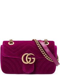9daf69c9a149c2 ... Gucci Gg Marmont Mini Quilted Velvet Crossbody Bag Dark Fuchsia ...