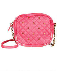 Hot Pink Quilted Leather Crossbody Bag