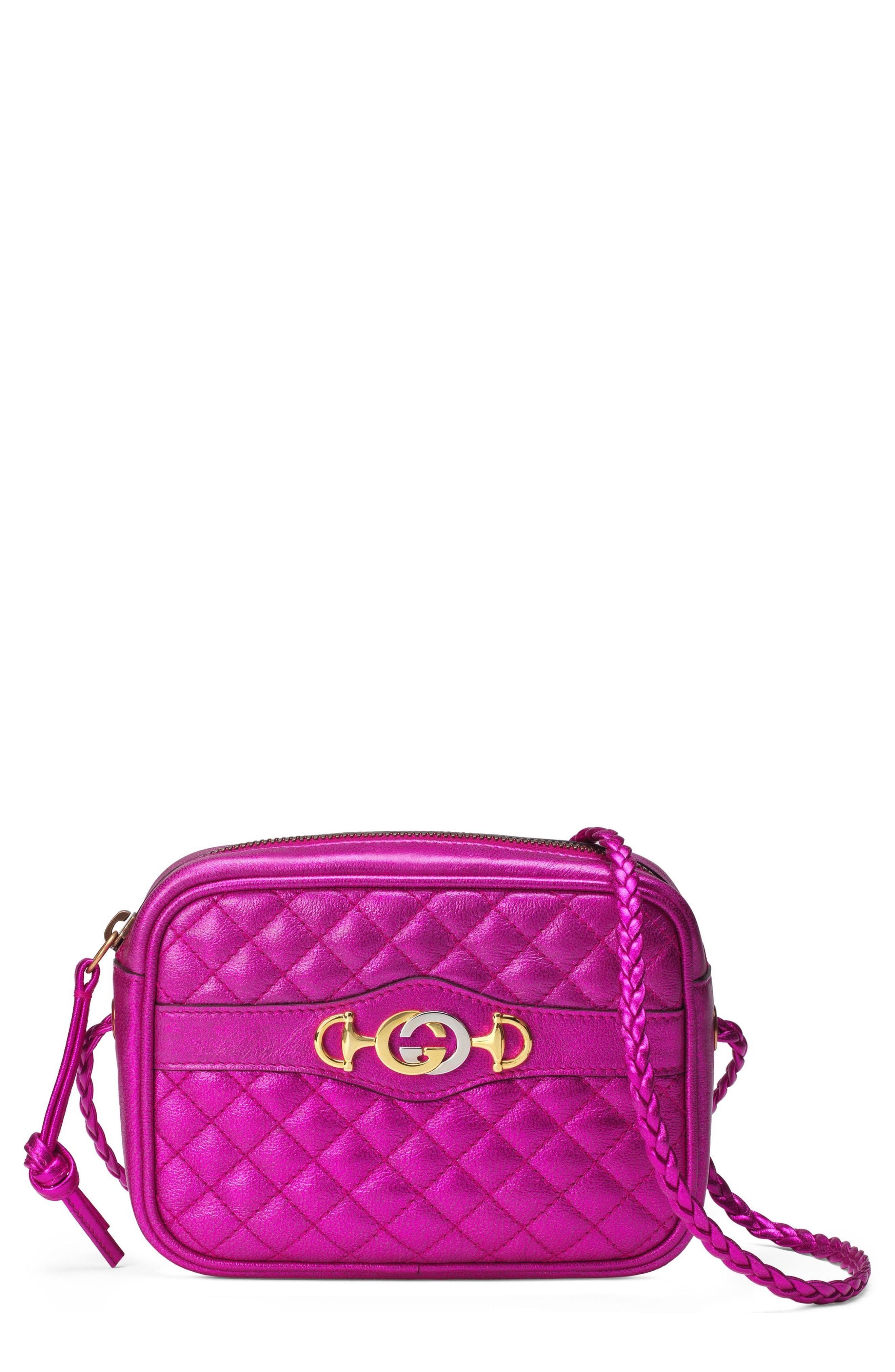 e24aadc5ad1513 ... Pink Quilted Leather Crossbody Bags Gucci Quilted Metallic Leather  Camera Bag