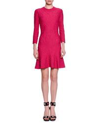 Alexander McQueen 34 Sleeve Quilted Flirty Hem Dress Shocking Pink