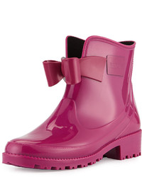 RED Valentino Bow Rubber Short Rain Boot Fuchsia