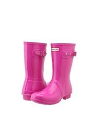 Hunter original short gloss rain boots lipstick pink medium 140893