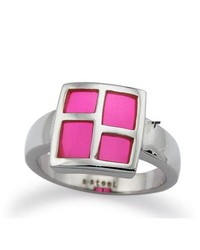 Tioneer Stainless Steel Ladies Ring W Pink Resin Inlay