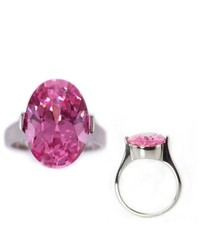 Tioneer Stainless Steel Ladies Solitaire Pink Sapphire Cz Ring