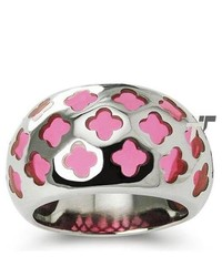 Tioneer Stainless Steel Ring W Pink Resin Inlay