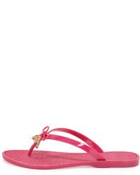 13577760cb4b6 ... Tory Burch Jelly Bow Logo Charm Thong Sandal Saucy Pink