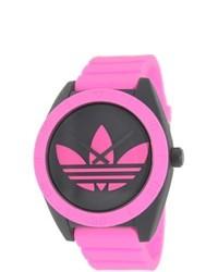 adidas Santiago Pink Silicone Strap Black Dial Quartz Watch