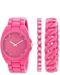 Anne Klein Ak1956pkst Swarovski Crystal Accented Pink Silicone Bracelet Watch Set