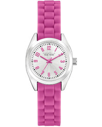 Caravelle New York By Bulova Pink Silicone Strap Watch 19mm 43l175