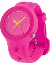 Converse Vr001630 Rookie Classic Analog And Neon Pink Silicone Strap Watch