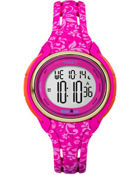 Timex Digital Pink Floral Silicone Strap Watch 56mm Tw5m03000jt
