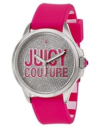 Juicy Couture 1901144 Jetsetter Stainless Steel Watch With Hot Pink Silicone Band