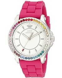 Juicy Couture 1901277 Pedigree Stainless Steel Watch With Pink Silicone Band