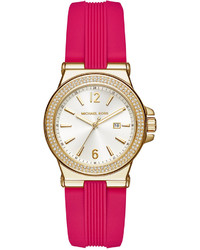 Michael Kors Michl Kors Mini Dylan Sporty Pink Silicone Strap Watch 33mm Mk2488