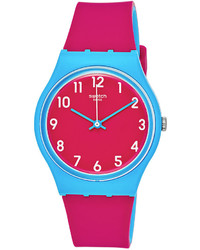 Swatch Swiss Sport Mixer Pink And Blue Double Layer Silicone Strap Watch 34mm Gs145