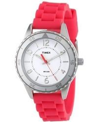 Timex T2p020kw Ameritus Sport White Dial Raspberry Silicone Strap Watch