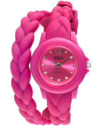 jcpenney Tko Orlogi Crystal Accent Braided Pink Silicone Strap Wrap Watch