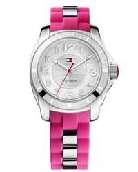 Tommy Hilfiger Watch Sport Stainless Steel And Pink Silicone Strap 38mm 1781308